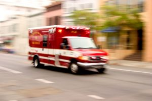 First responders paramedic rushing to an emergency